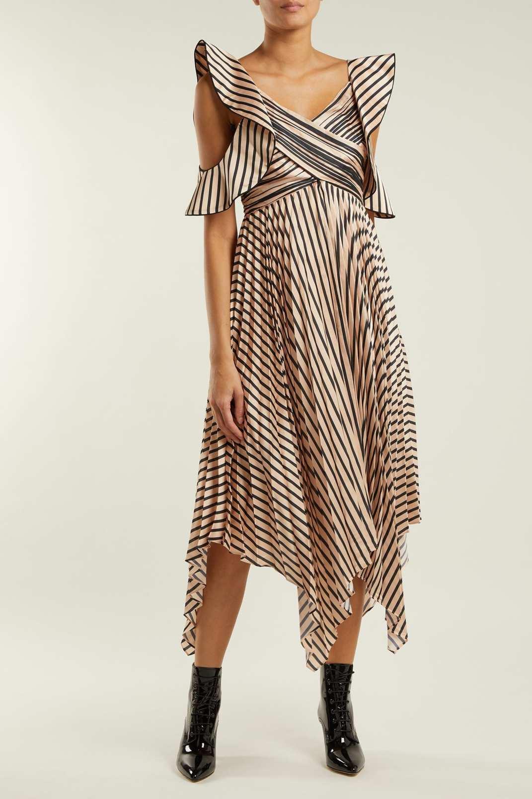 Self-Portrait Asymmetric Striped Satin Dress