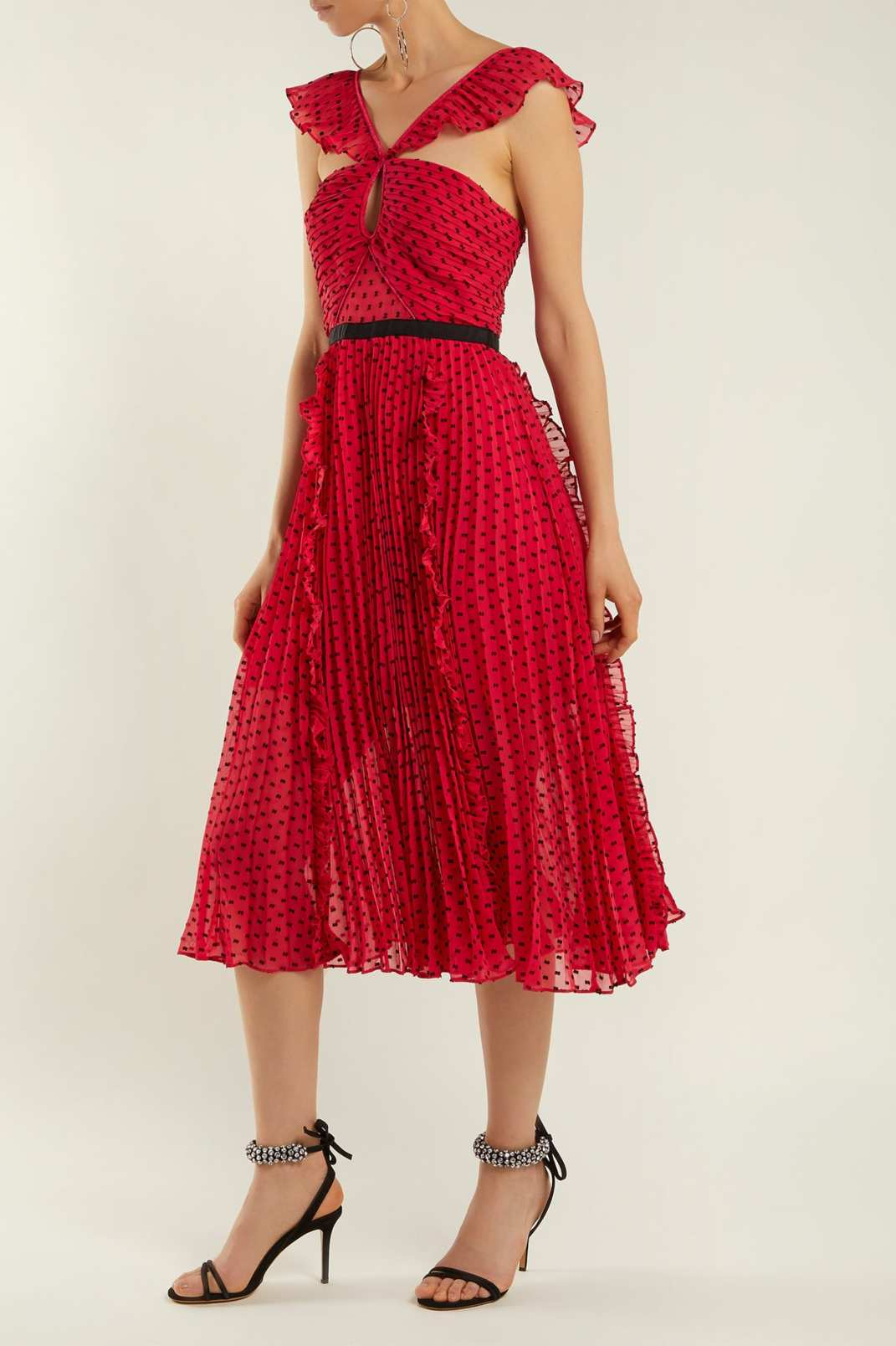 Self-Portrait Ruffle-Trimmed Pleated Dress