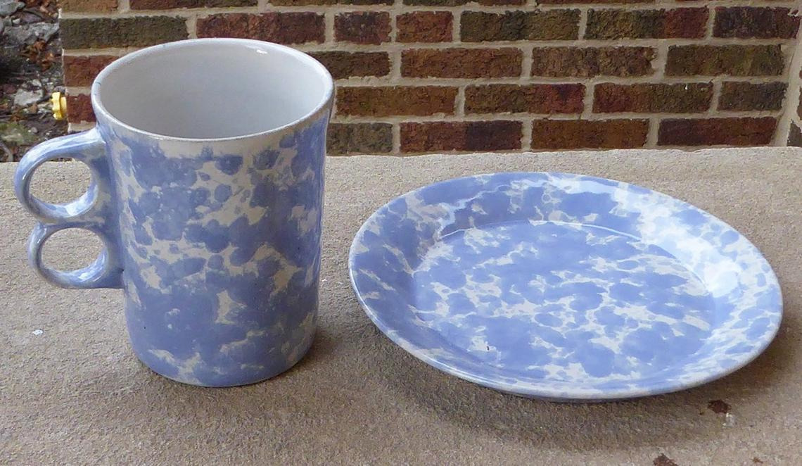 Bennington Potters Vermont Agate Morning Glory Blue Mug and Small Plate