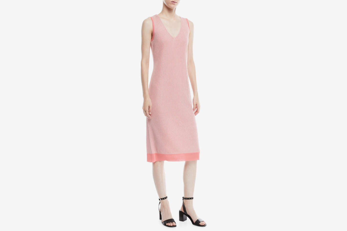 Rag & Bone Cora V-Neck Rib Midi Dress
