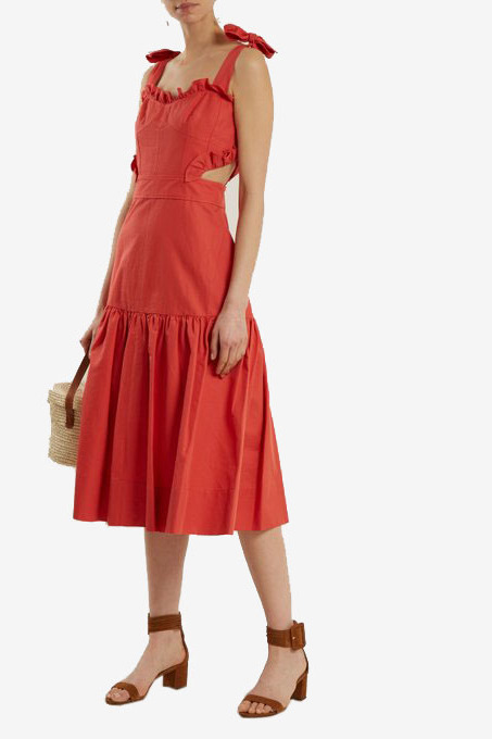 Rebecca Taylor Cut-Out Cotton and Linen Blend Dress