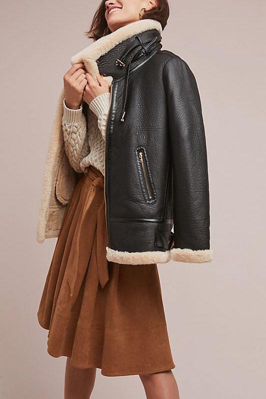 Aviator Faux Leather Coat