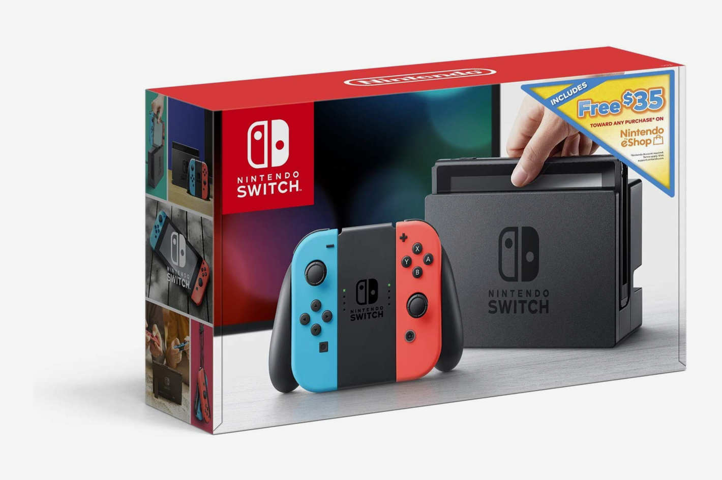 Nintendo Switch With Neon Blue & Neon Red Joy Con + $35 Nintendo eShop Credit Download Code