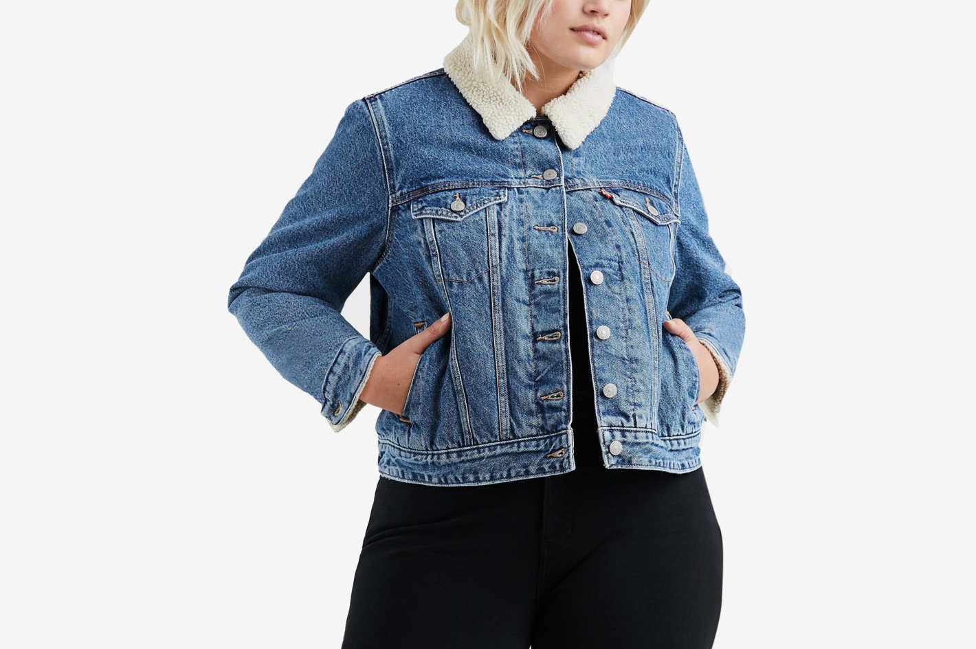 Levi's Plus Size Cotton Fleece-Trimmed Trucker Jacket