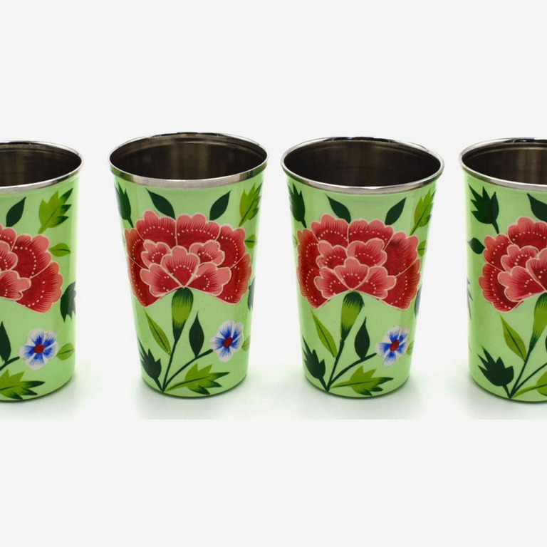Green Floral Tumblers and Pitcher