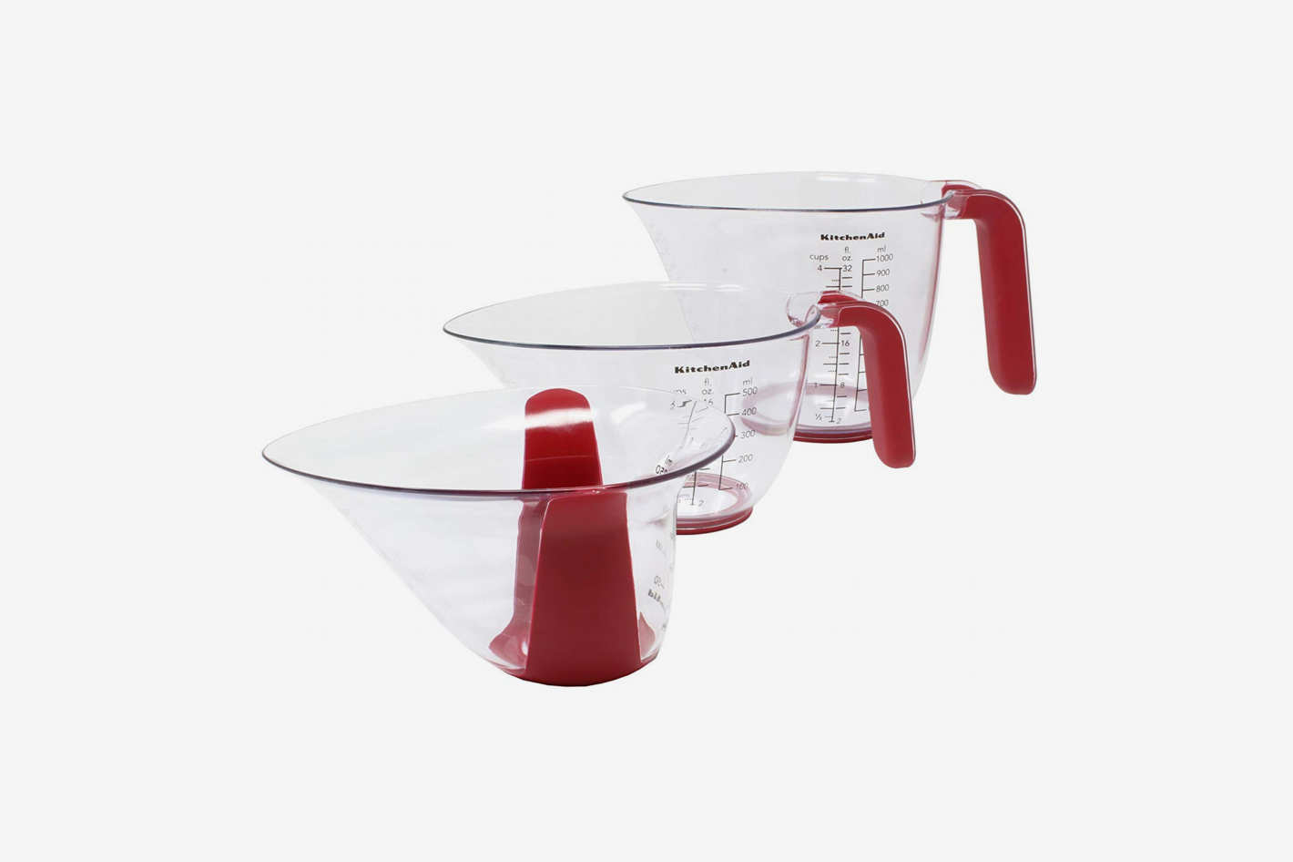 KitchenAid Gourmet Set of 3 Plastic Measuring Cups, Red