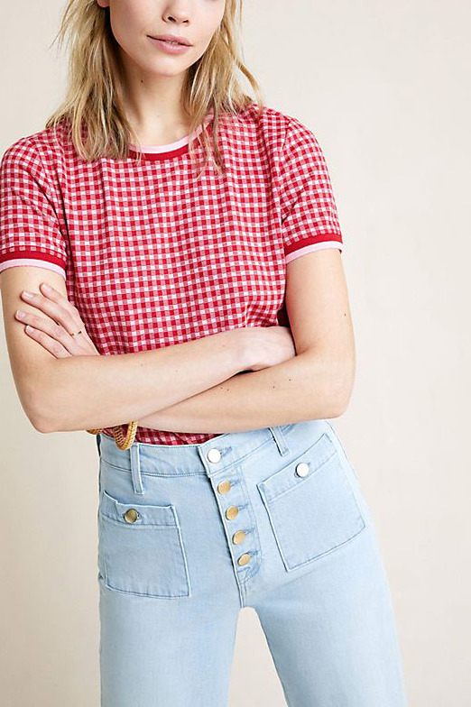 Maeve Gingham Knit Top