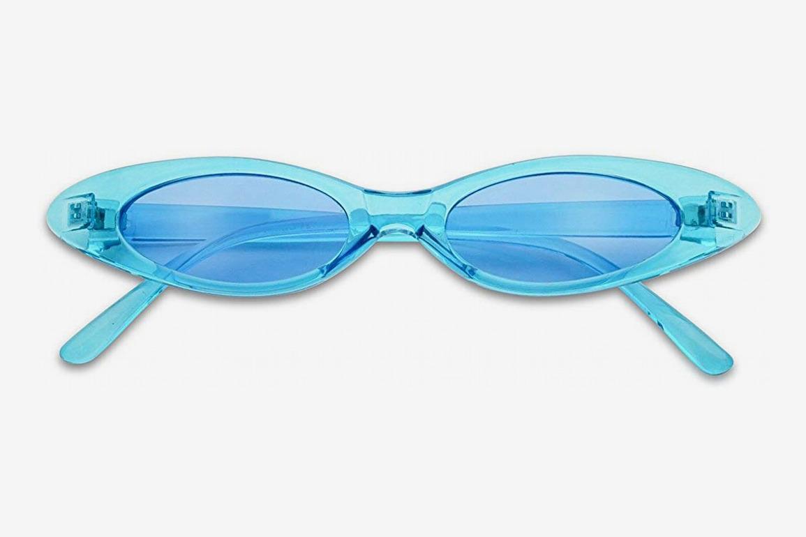 SunglassUp Ultra Small Slim Translucent Vintage Oval Cateye Sunglasses