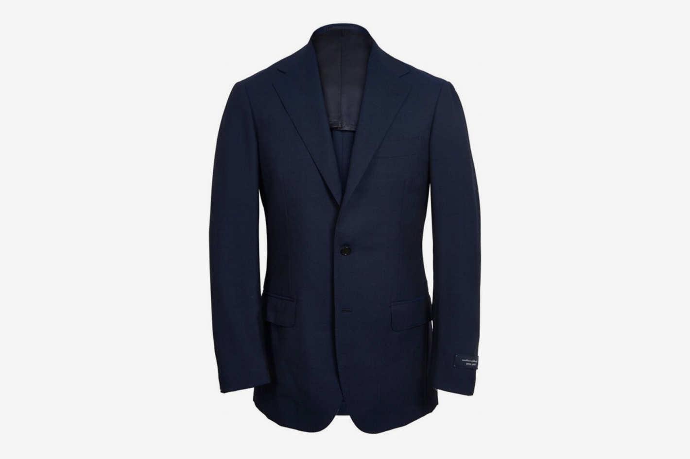 Ring Jacket Navy Calm Twist Wool Suit