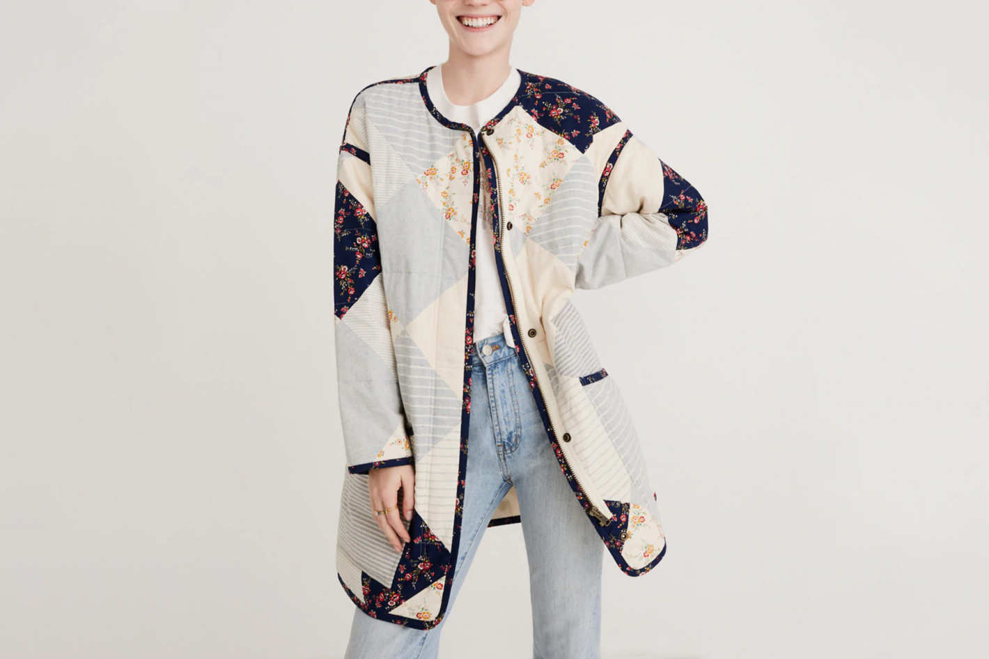 Madewell x The New Denim Project® Patchwork Cocoon Coat