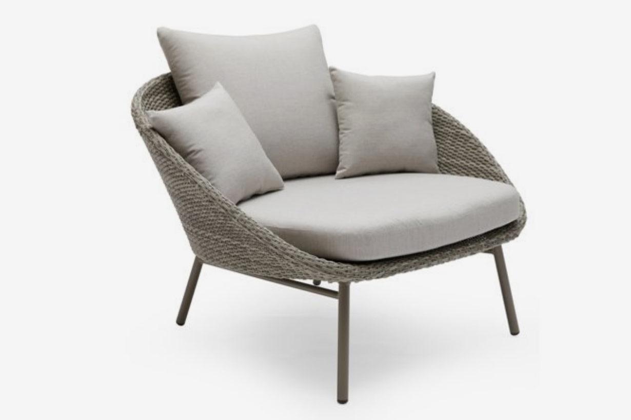 MoDRN Scandinavian Nassau Outdoor Woven Lounge Chair with Sunbrella Cushion