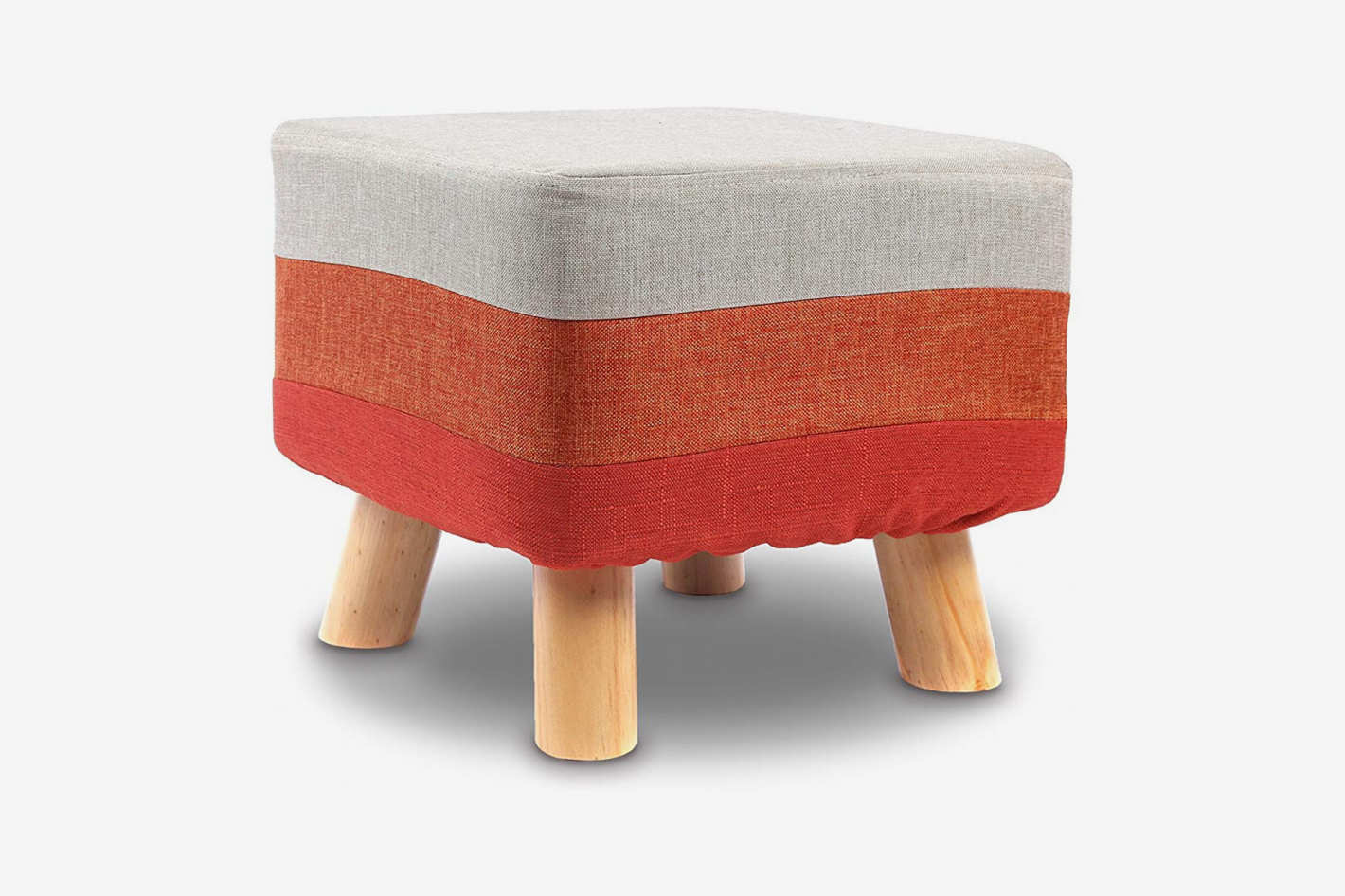 Ikee Design Wooden Square Upholstered Footstool