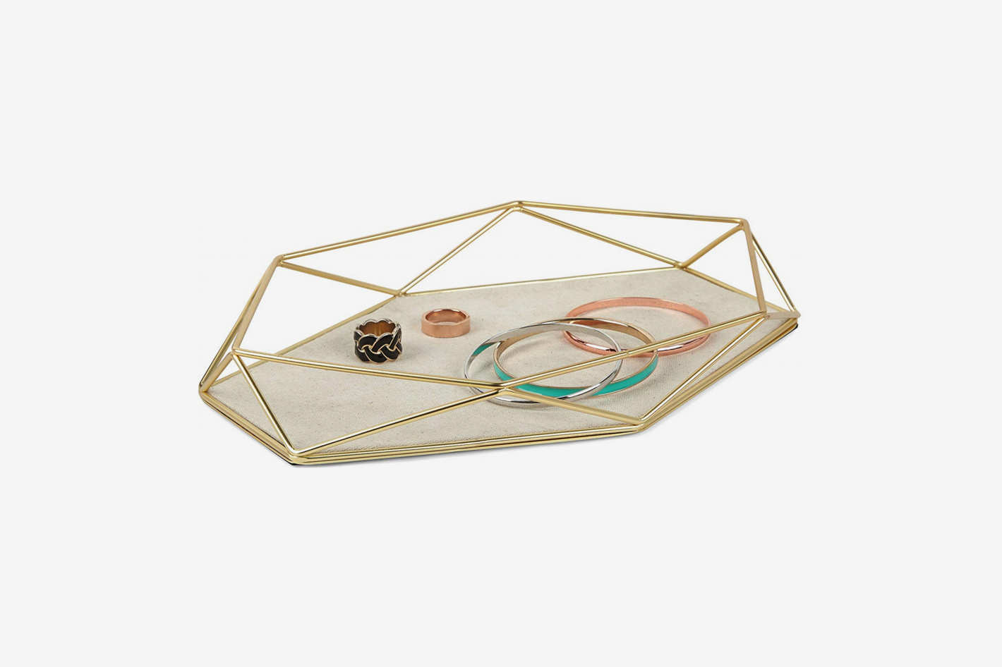 Umbra Prisma Tray, Geometric and Brass Plated Jewelry Storage