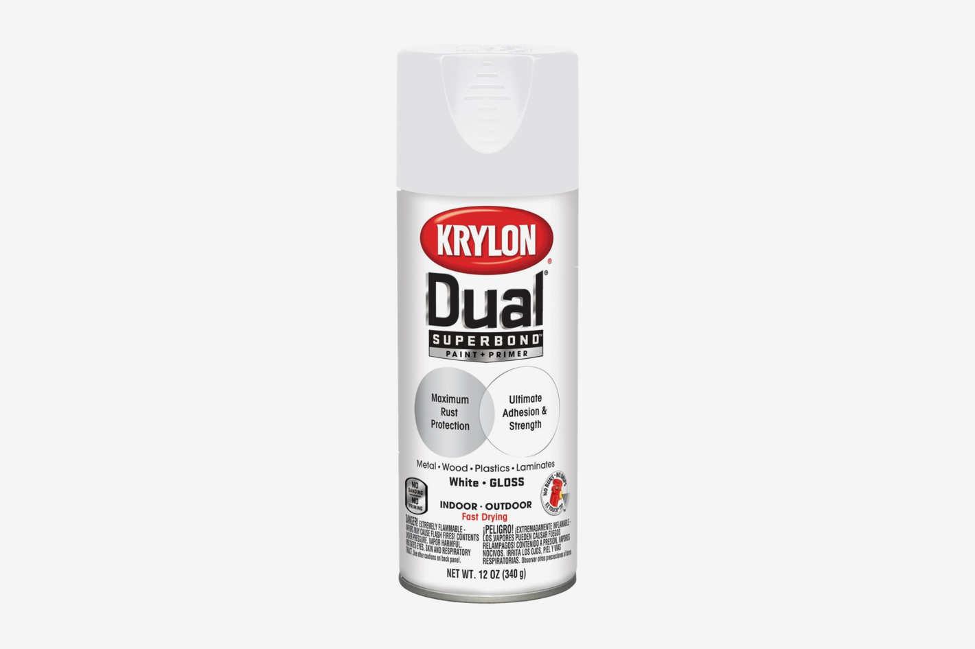 Krylon K08800007 'Dual' Superbond Paint and Primer, Gloss White, 12 Ounce