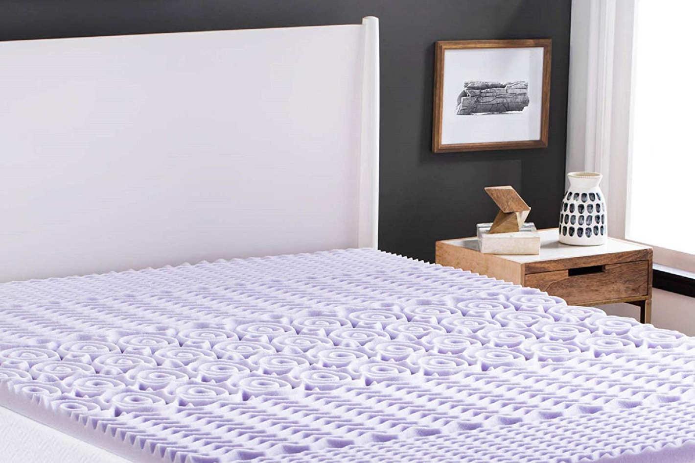 Lucid 2-inch 5-Zone Lavender Memory Foam Mattress Topper