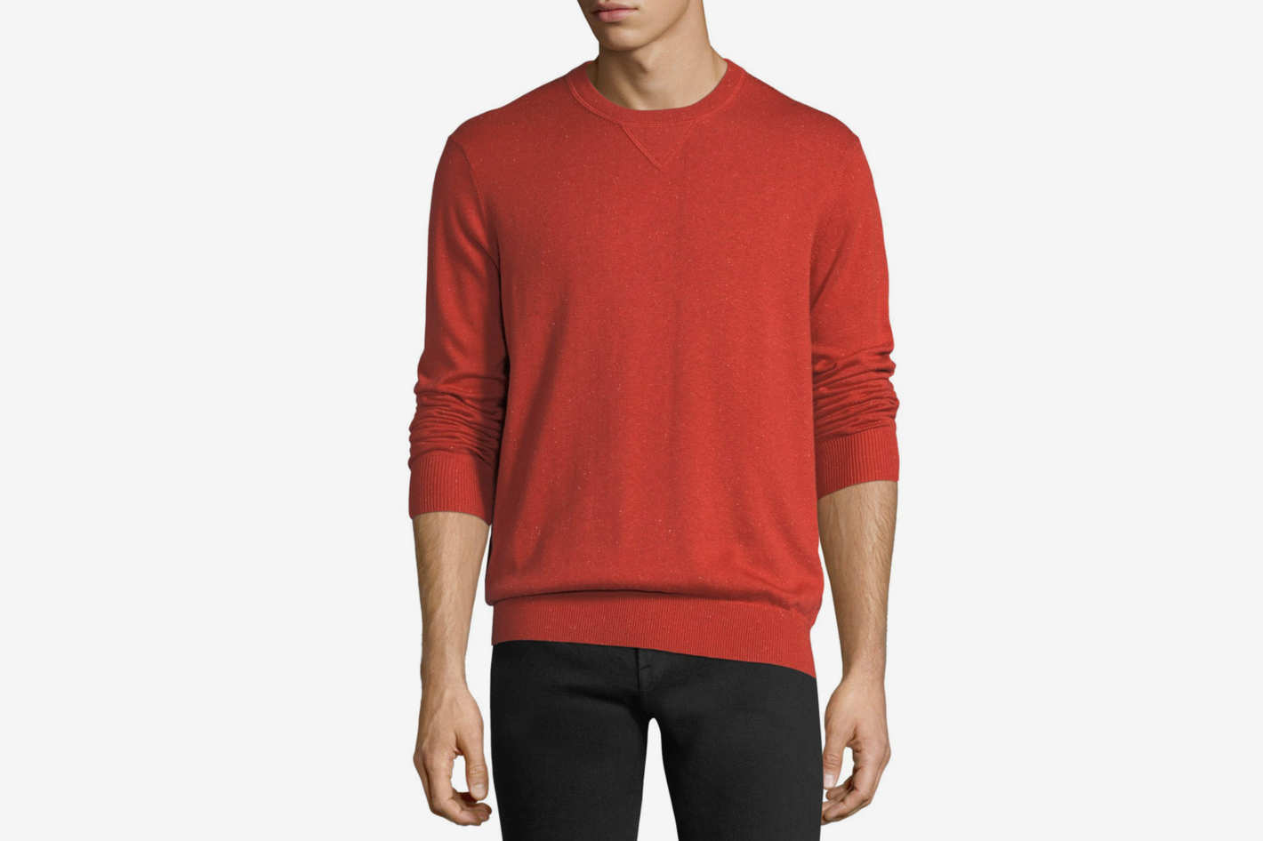 Neiman Marcus Donegal Crewneck Sweatshirt with Elbow Patches