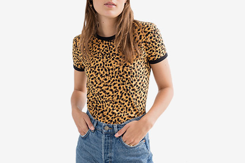 & Other Stories Leopard Print Ringer Tee