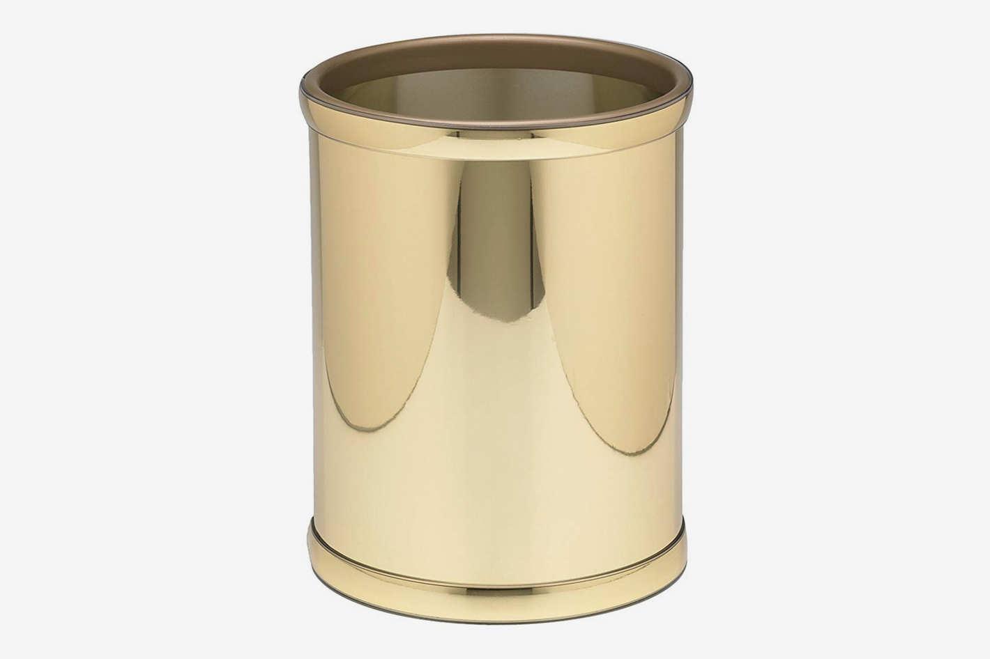 Kraftware Vinyl and Mylar Polished Round Waste Basket, Polished Brass