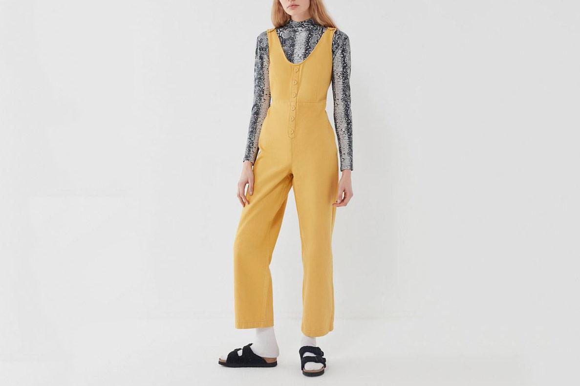 BDG Leighton Denim Button-Front Jumpsuit