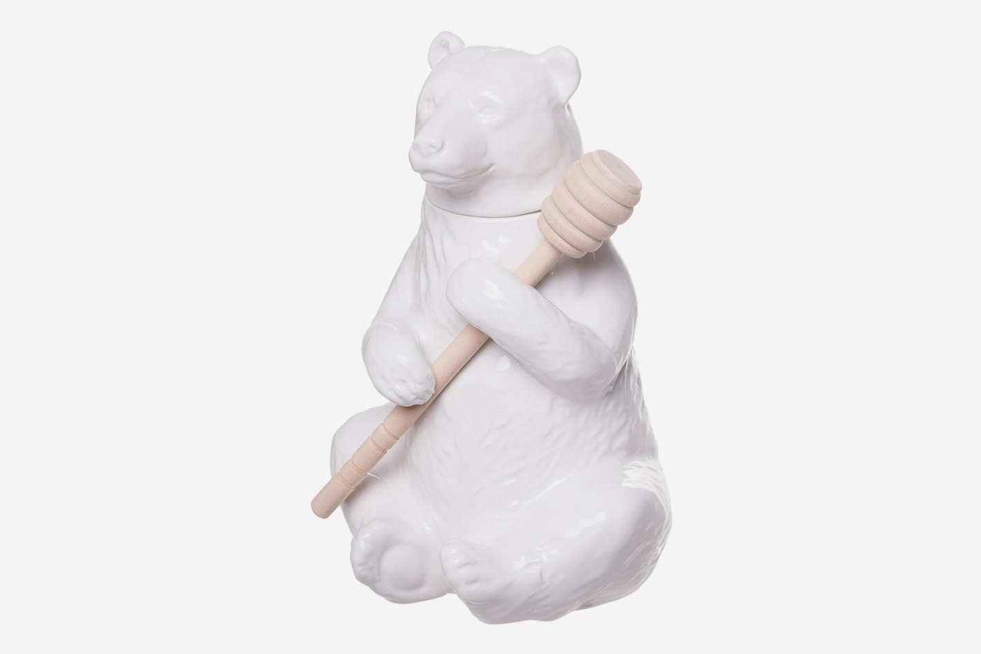 Red Co. Charming Ceramic Bear Honey Pot with Bamboo Honey Dipper