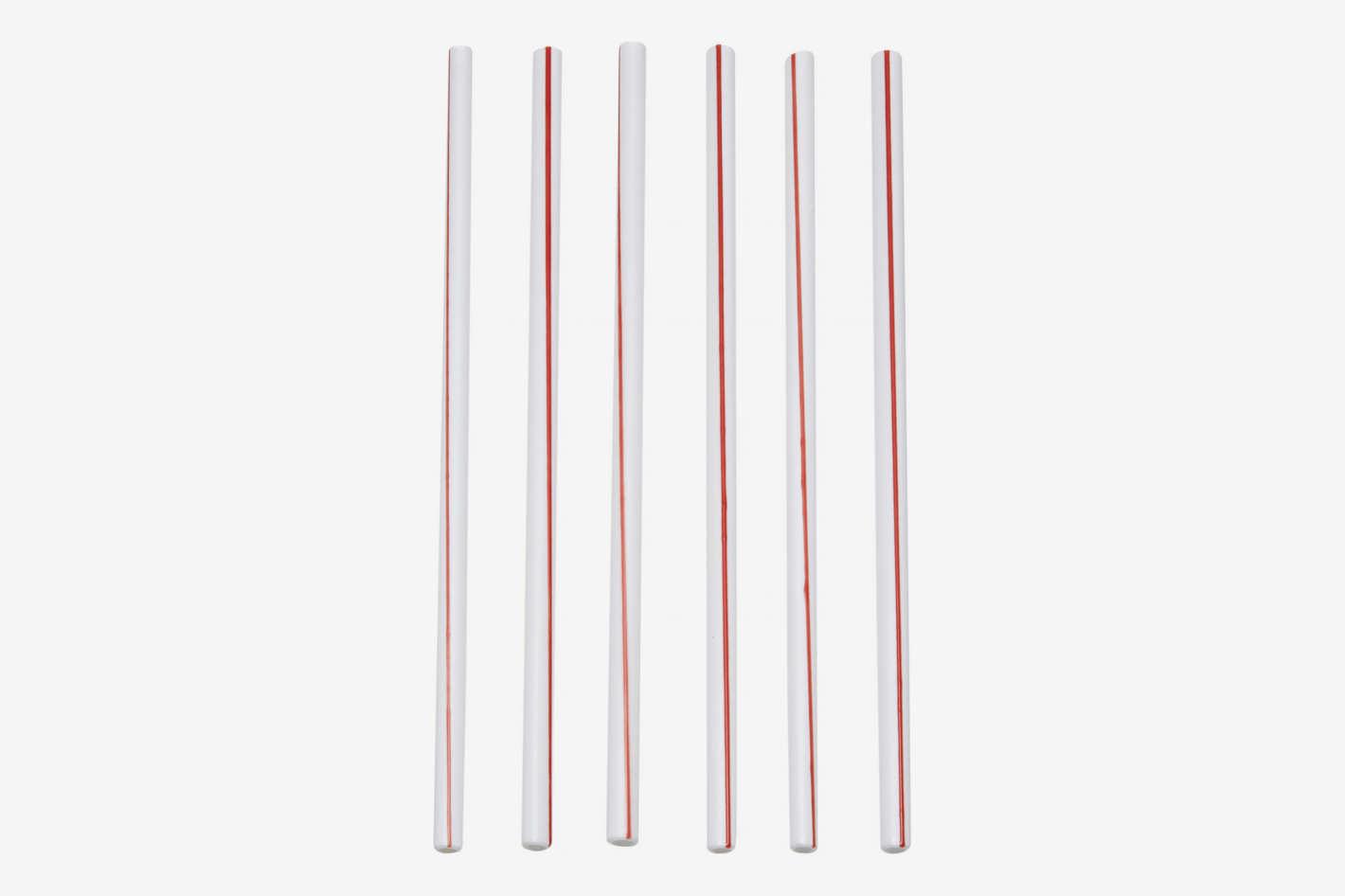 Tessaro Set-Of-Six Two-Tone Glass Straws