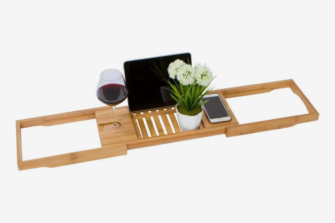 "Trademark Innovations 28"" Adjustable Bamboo Bath Tray"