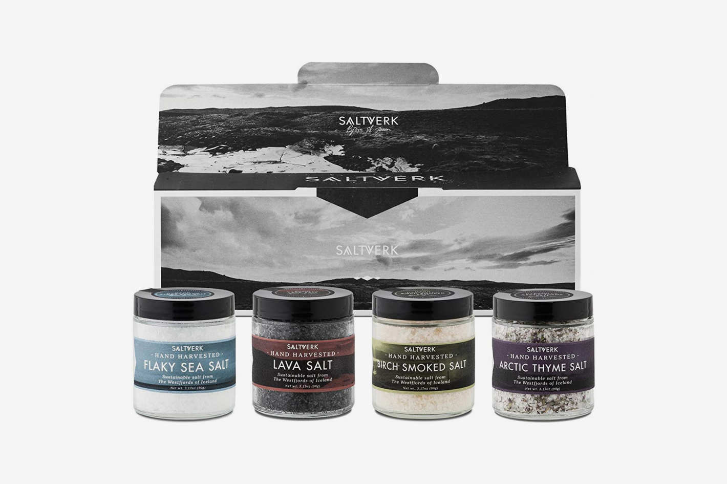 Saltverk Gift Box w/Arctic Thyme salt + Birch Smoked salt +Lava salt + Pure salt