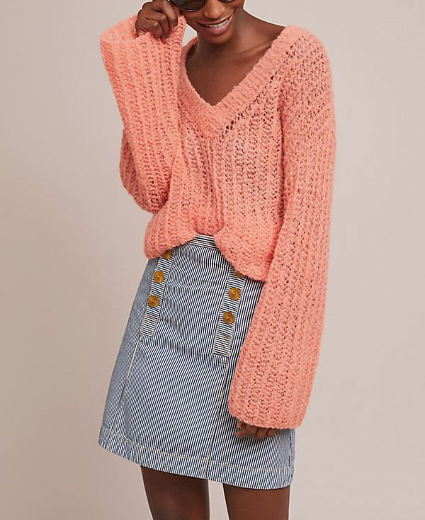 Pilcro Striped Denim Skirt