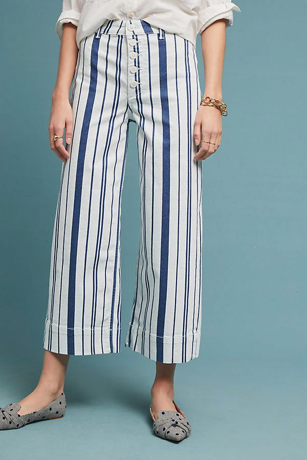 Capitaine Striped Wide-Leg Pants