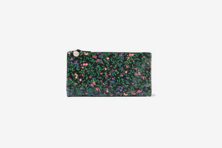 Clare V. Suede-Trimmed Floral-Print Leather Pouch