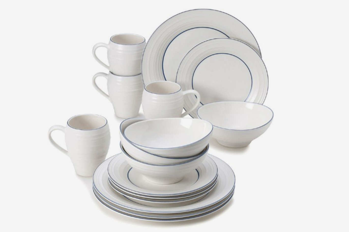 Mikasa Swirl Banded 16-Piece Dinnerware Set in Blue