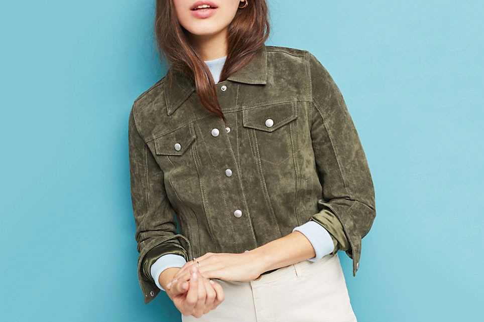 BLANKNYC Cropped Suede Trucker Jacket