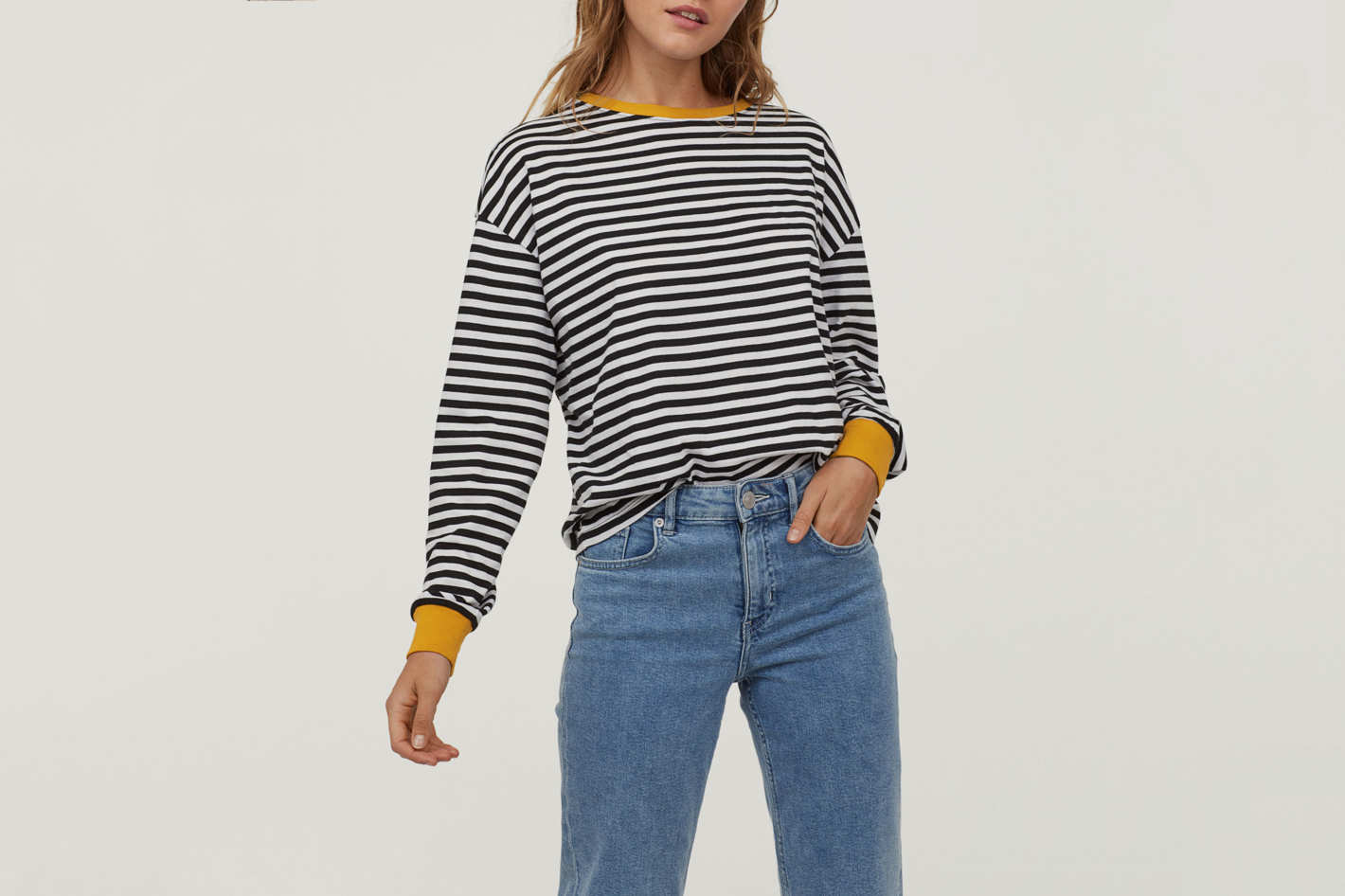 H&M Striped Jersey Top Black/White Striped
