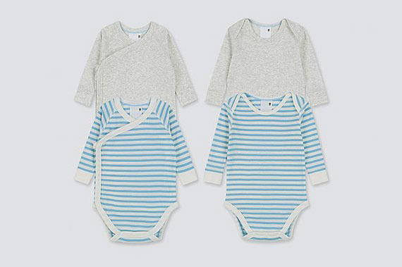 Uniqlo Newborn Crew Neck Long-Sleeve Bodysuit (Set of 2)