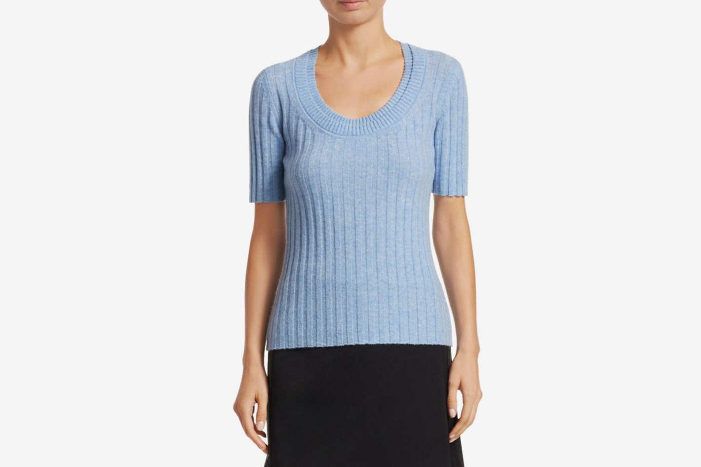 3.1 Phillip Lim Short Sleeve Cashmere-Blend Rib-Knit Top