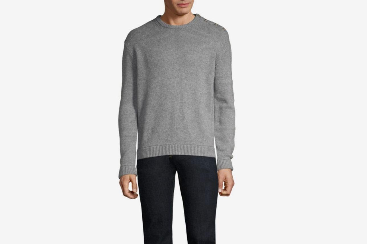 The Kooples Button Detail Crewneck Sweater