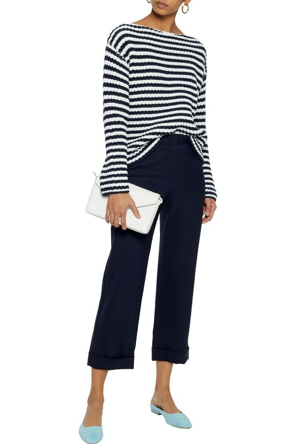 Mansur Gavriel Striped Ribbed Cotton-Blend Sweater