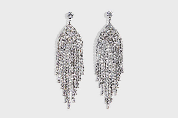 Express Rhinestone Metal Fringe Earrings