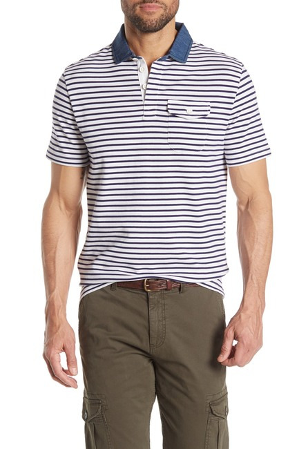 Michael Bastian Short Sleeve Striped Polo