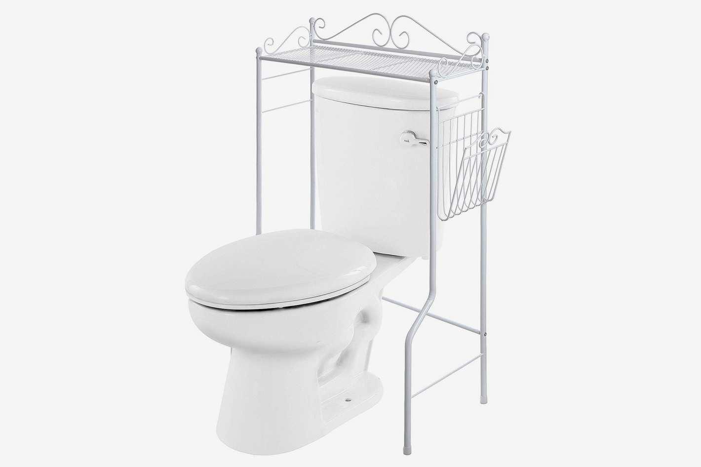 Space Saver Design Metal Storage Organizer Rack/Freestanding Bathroom Shelf With Magazine Basket