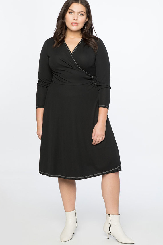 Eloquii Long Sleeve Wrap Dress
