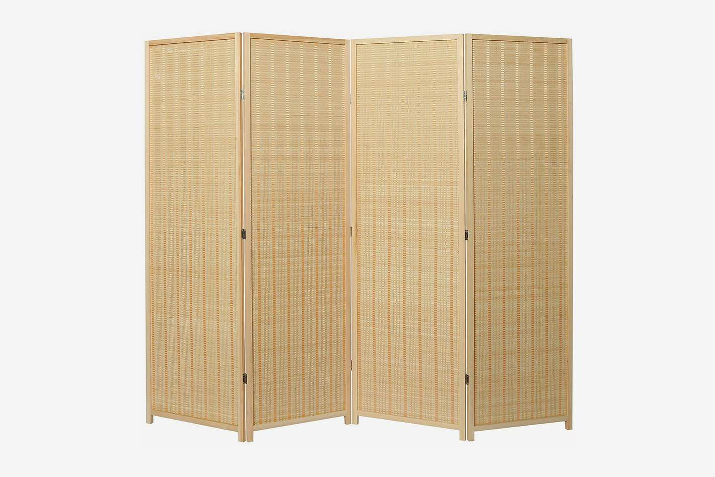 MyGift 4-Panel Woven Bamboo Folding Room Divider