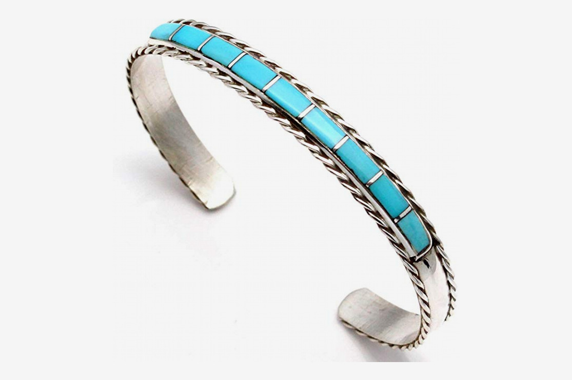 L7 Trading Women's Zuni Sterling Silver Channel Inlay Turquoise Bracelet
