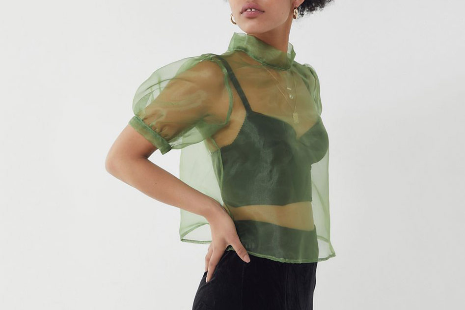 Urban Renewal Remnants Organza Mock Neck Top