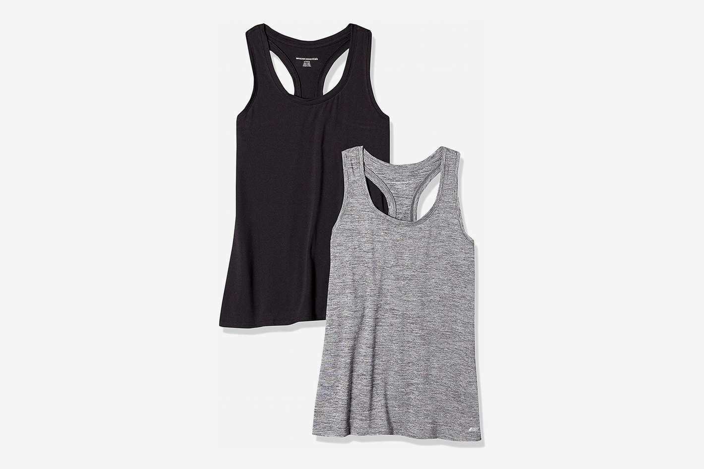 2fee47315 Amazon Essentials Women s 2-Pack Tech Stretch Racerback Tank Top