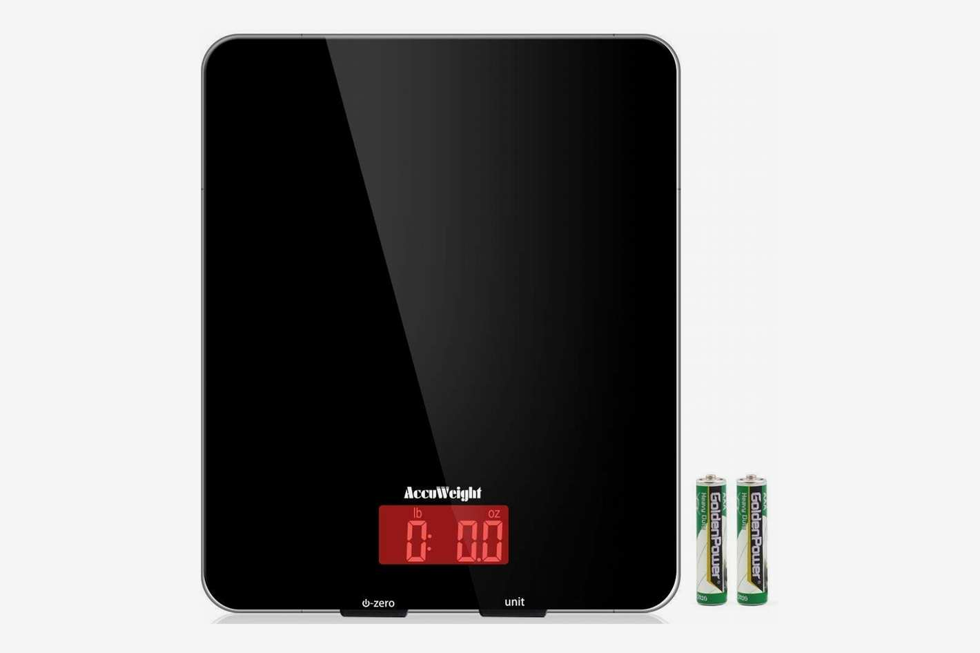 kitchen scale with nutritional facts display