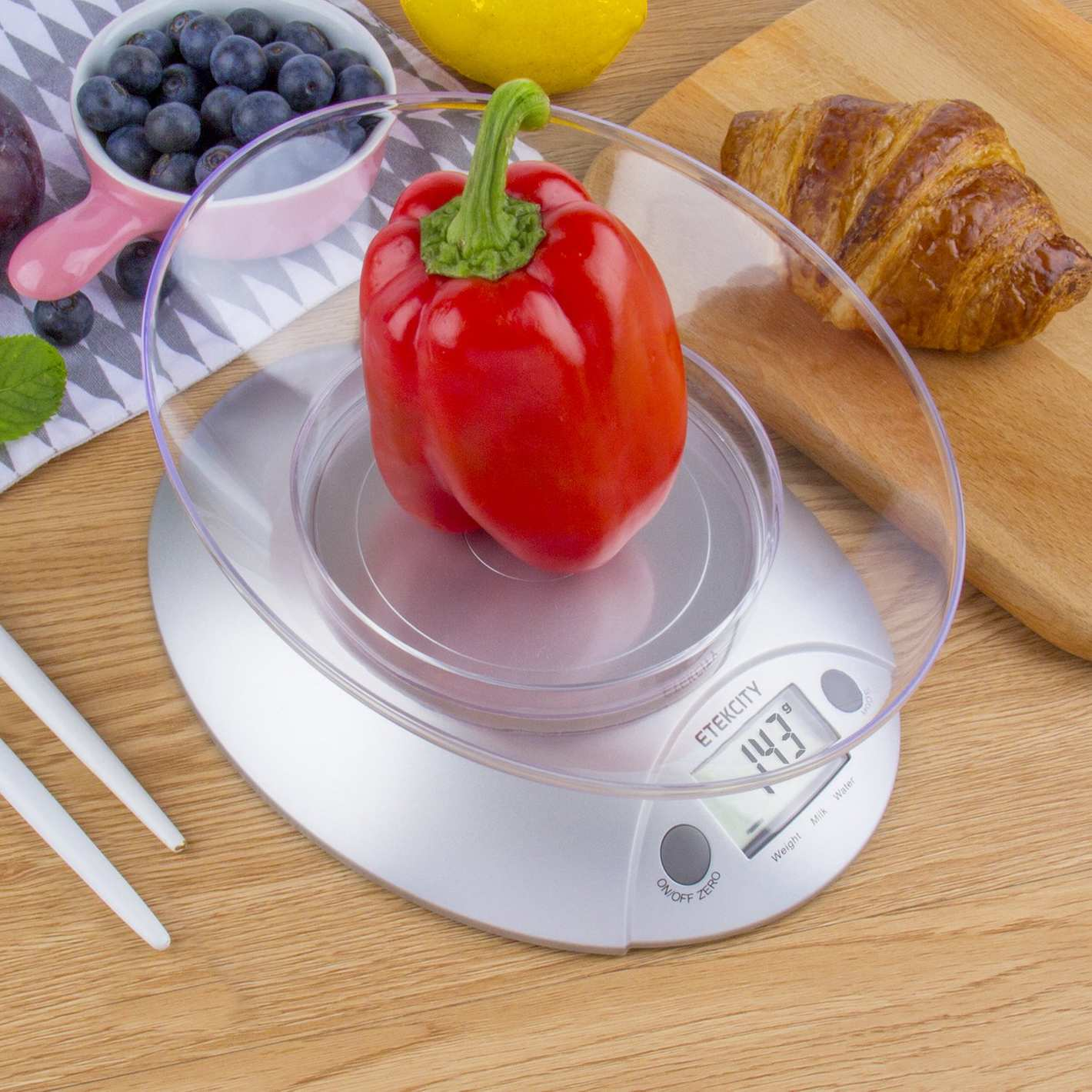 Etekcity Digital Kitchen Food Scale and Multifunction Weight Scale with Removable Bowl