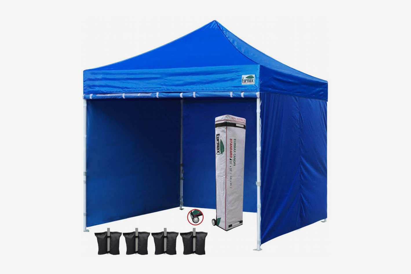 Eurmax Ez Pop-Up Canopy Tent with 4 Removable Side Walls, Roller Bag, and 4 Weighted Sandbags