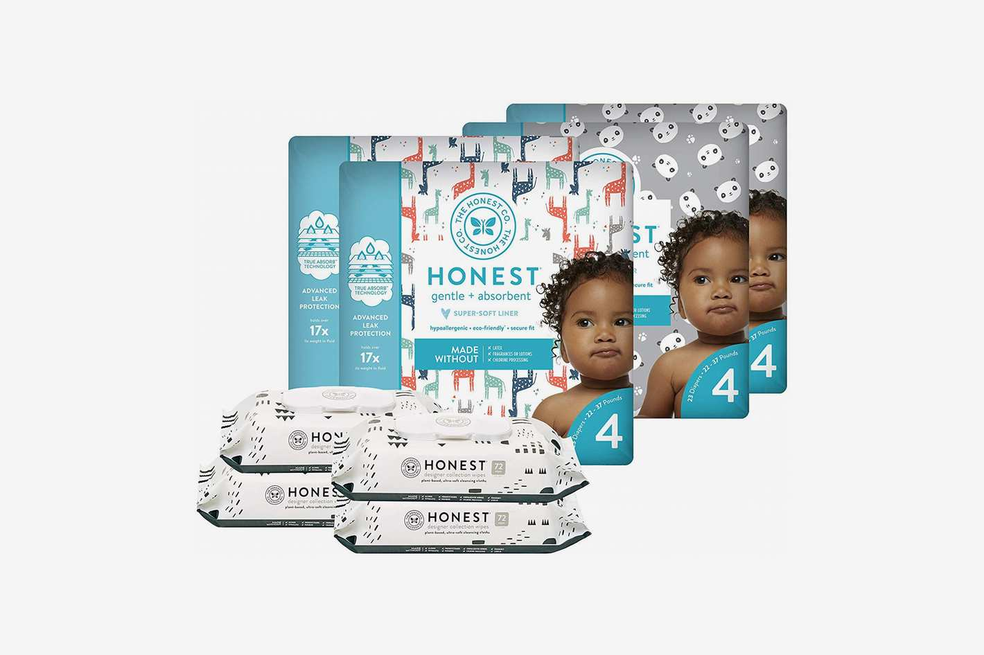 The Honest Company Super Duper Club Box with True Absorb Diapers, Pandas & Safari