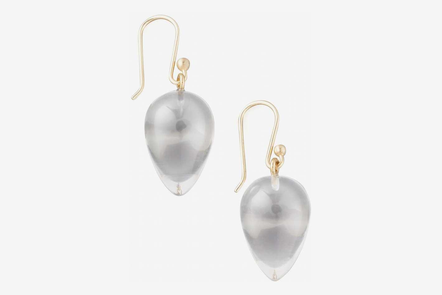 Ted Muehling Rock Crystal Acorn Earrings